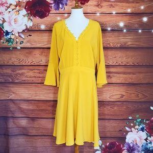 Eloquii Mustard Yellow Bell Sleeve Dress